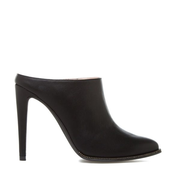 """Signature by Shoe Dazzle Sleek mule bootie """"Sleek"""" mule bootie by Shoe Dazzle's Signature collection. A zipper-inspired detail borders the pointed-toe styling of this mule bootie by the Signature collection for a subtle rocker-chic appeal. An inset comfort pad will dare you to wear this style everywhere. Size 7.5, but runs small and fits like a size 7. Worn once, like new. Approx 4.5"""" heel. No trades, no pp, no exceptions! Shoe Dazzle Shoes Ankle Boots & Booties"""