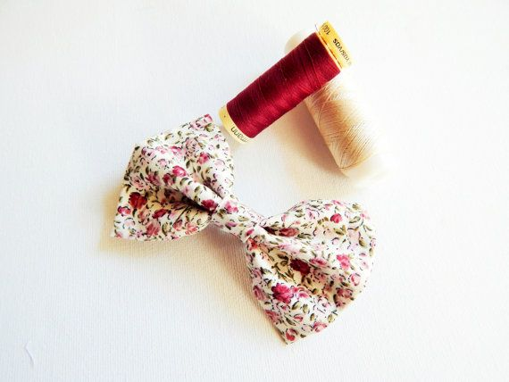 Hair Bow in Liberty Flower Print Fabric with Clip - Hair Barrette Bow - Female Hair Accessory - Girls Hair Bow Present
