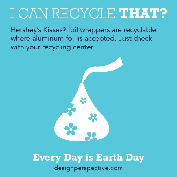 Don't kiss that foil goodbye! Foil wrappers are recyclable where aluminum foil is accepted. Just check with your recycling center. #earthday #recycle #foil #recycling #designperspective