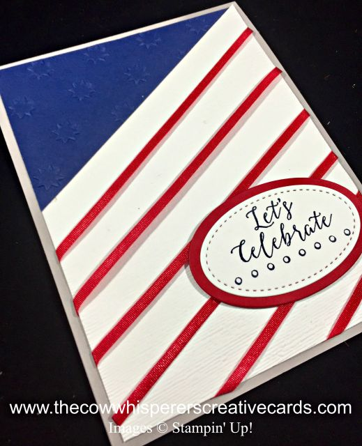 Card Flag Detailed With Love Subtle Embossing Folder OH My Stars
