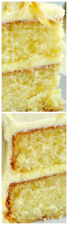 Lemon Velvet Cake ~ A perfectly moist and tender crumbed cake with a lemony buttercream frosting.