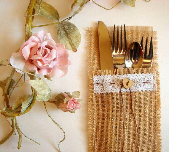 100 Eco friendly  Burlap Flatware Holders  Wedding by accessory8, $185.00