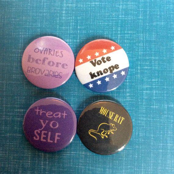 Parks and Recreation Rec 4 pin button badge or fridge magnet set leslie knope, mouse rat, andy dwyer, Tom Haverford