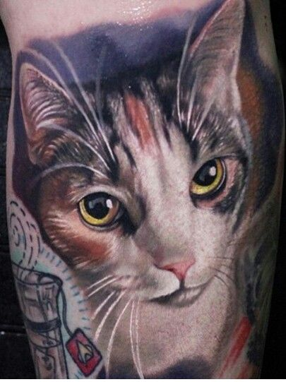 Realisitic cat tattoo