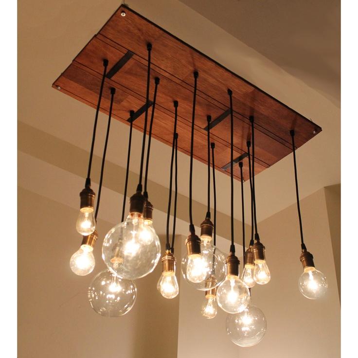 reclaimed wood & lightbulb chandy.