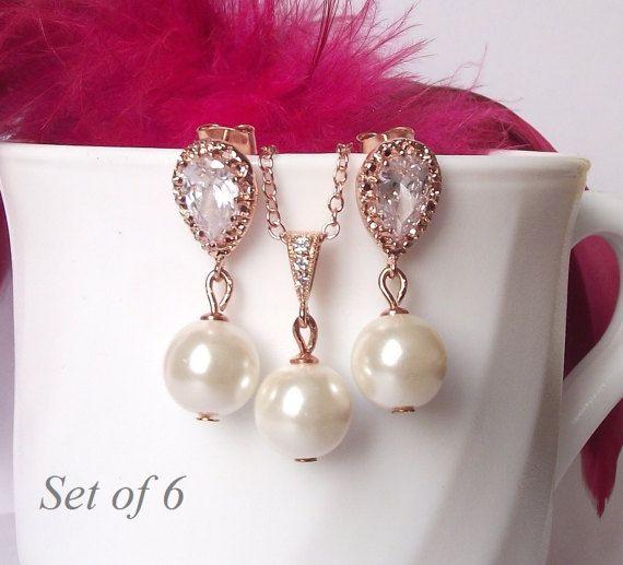 Sistema de la joyería de Dama de honor de 6, conjunto de Dama de honor boda oro rosa joyas, perlas de 6, gota perla collar y pendiente de Dama de honor joyería rosegold