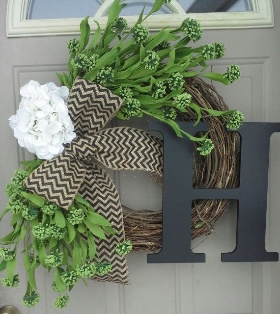 spring wreath for front doorBest 25 Burlap initial wreath ideas on Pinterest  Initial wreath