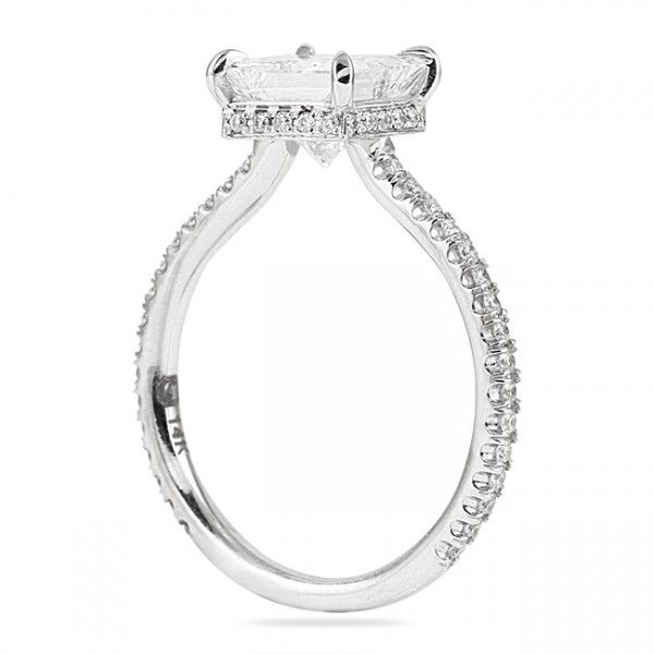 PRINCESS CUT DIAMOND PAVE ENGAGEMENT RING