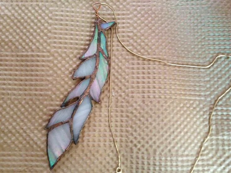 Stained Glass Natalie Feather Necklace in Opal. $55.00, via Etsy.