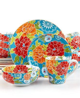 222 Fifth Dinnerware, Huang Blue 16 Piece set - Casual Dinnerware - Dining & Entertaining - Macy's