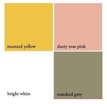 5) Colour theme:  Grey, white, pink, yellow... all set against a fresh, green Spring lawn.  #modcloth  #wedding    But maybe with green instead of mustard yellow
