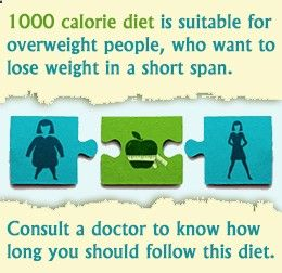 1000 calorie diet menu, with list of foods and calories