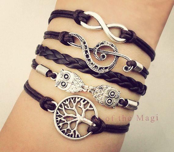 Tree of Life Music Note Infinity Bracelet, Boho Jewelry, Wax Cord Bracelet, Multi Wrap Bracelet on Etsy, $9.99