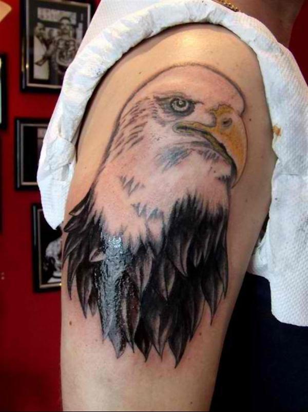 Eagle Tattoo - Colored eagle tattoo with dark shadings on the right arm. #TattooModels #tattoo