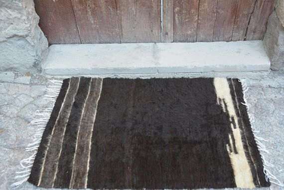 2.3' x 3.5' small rugs black goat kilim rug black area