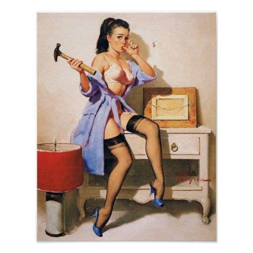 Wrong Nail Pin Up Girl Posters