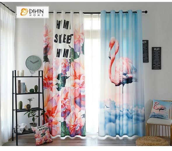 Dihin Home 3d Printed Crane And Flowers Blackout Curtains Window Curtains Grommet Curtain For Living Room 39x102 Inch 2 Panels Included With Images Curtains Living Room Curtains Grommet Curtains