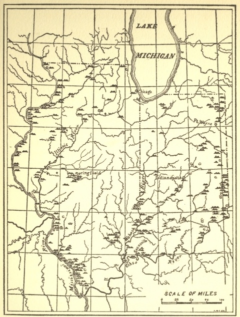 Map showing the locations of the the mound builders works in Indiana and Illinois