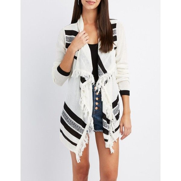 Charlotte Russe Striped Cascade Cardigan (105 PLN) ❤ liked on Polyvore featuring tops, cardigans, multi, white top, slouchy cardigan, white striped top, long sleeve tops and stripe top