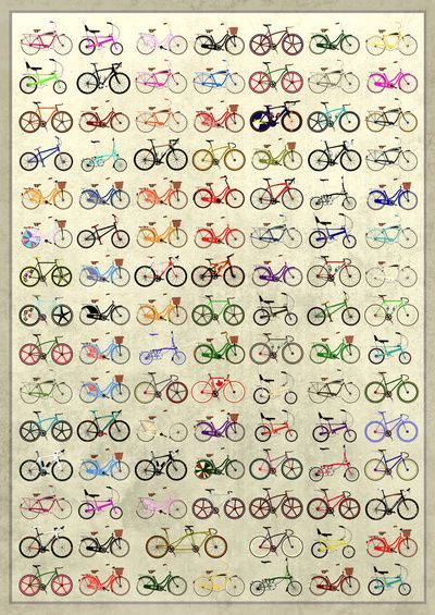 Bikes Art Print by Wyatt Design . thinking about doing something like this.