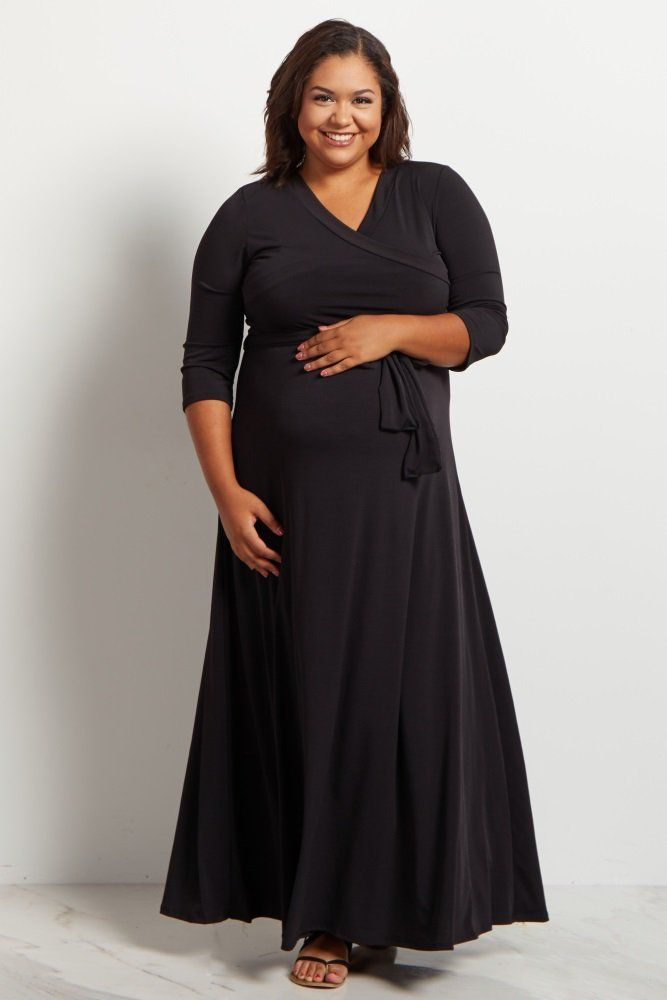 31da9d1b2a5 Olive Green Draped 3 4 Sleeve Plus Size Maternity Maxi Dress ...