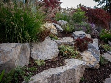 Boulder Retaining Wall - Sellwood traditional-landscape