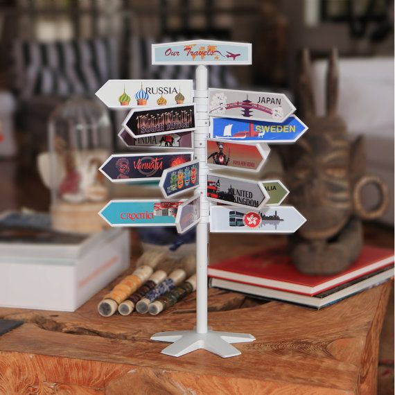 DESCRIPTION: This Award Winning unique travel souvenir displays all your travels in one place. Each travel sign highlights one travel