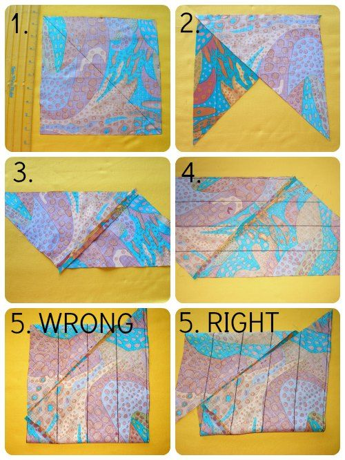 Easy to follow steps for making continuous bias binding tape from a square of fabric.  No more fiddly sewing strips together.