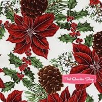 Warm Wishes Metallic Silver on Frost Poinsettias and Pinecones Yardage <br/>SKU