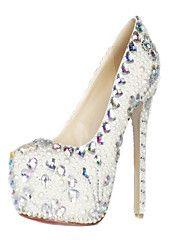 Patente Gorgeous perla y diamantes de imitación de cuero tacón de aguja cerrada Toe Pumps fiesta / zapatos de noche