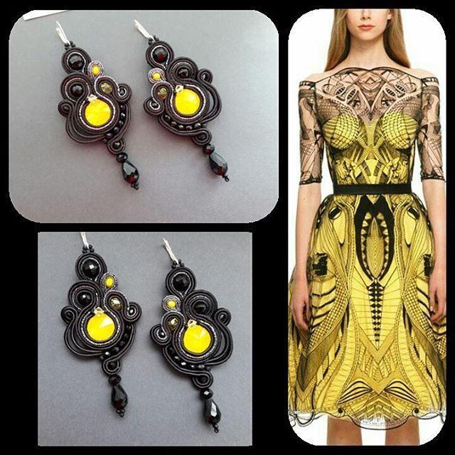 #soutache #earrings #black #yellow #gold #swarovski #crystals #handmadejewelry #handmade_ru_jewellery #handmade #craft #orecchini #jewelry #сутаж #серги #черный #ручнаяработа