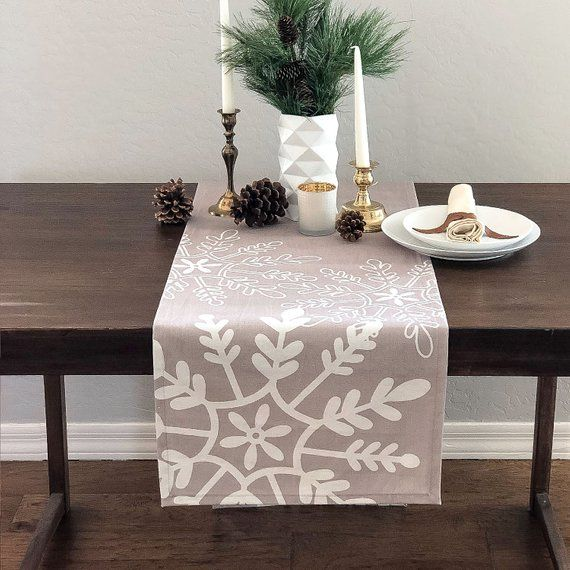 Tossed Snowflakes Modern Holiday Christmas Table Runner Tan White Christmas Table Runner Christmas Table Modern Holiday