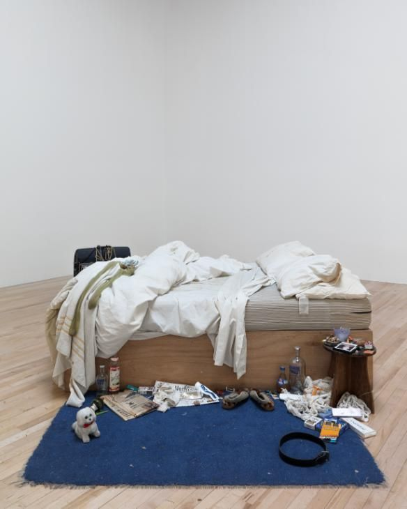 Artwork page for My Bed, Tracey Emin 1998 on display at Tate Liverpool.