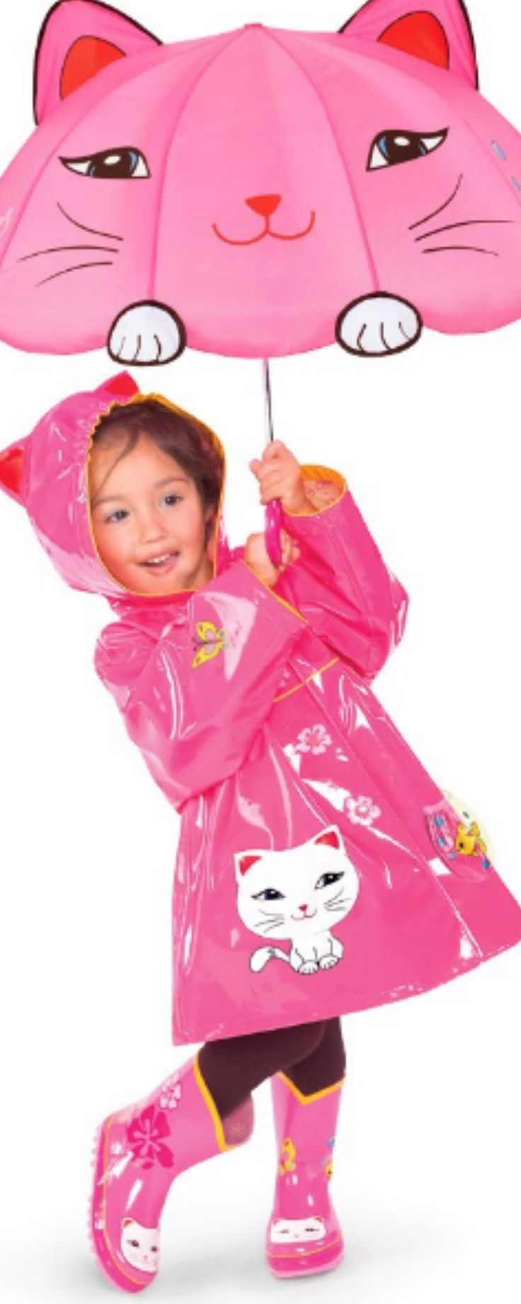 Children Raincoats with Matching Boots - Sweet little girls love dressing up, even in the rain. If her favorite thing in the world is cats, then this is the girls raincoat and boots set you need to get for her.