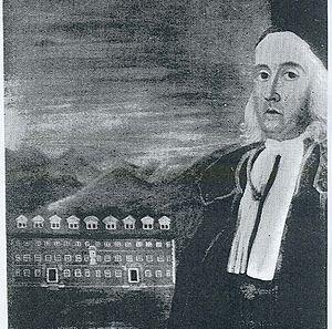 Lt Gov William Stoughton, (1631–1701), Colonial Governor: 1694–99, 1700-01; circa 1700 overlooking one of the buildings of Harvard College
