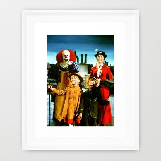 """IT's Pennywise was probably one of the scariest villains in horror movies.  """"Do you want a ballon, Georgi, they float, they all float..."""" This still gives me the creeps. The movie was a bit cheap to be honest, but still, every scene with Tim Curry impersonating the evil bastard was awesome. This artwork is the desperate effort to give Pennywise a new opportunity to be loved just as a funny and singing clown, in front of one the most famous children characters: Mary Poppins."""