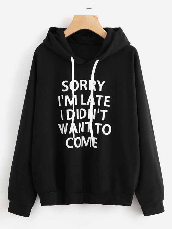 739ac9b1 Slogan Print Drop Shoulder Hoodie -SheIn(Sheinside) black pullover | trendy  boho clothing