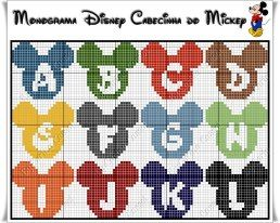 Mickey cross stitch alphabet...site has cute Donald & Minnie alphabets too.  (not a direct link, link not in English)