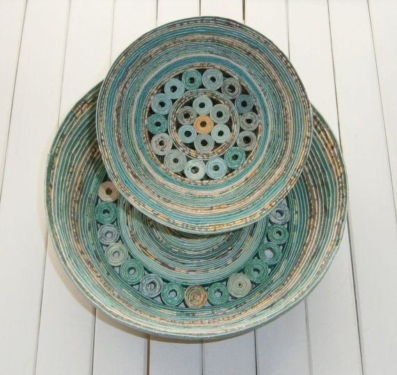 """Coiled Paper Basket / Bowl, Handmade - Shades of Aqua and Teal Recycled Paper, 5"""" Diameter. $15.00, via Etsy."""