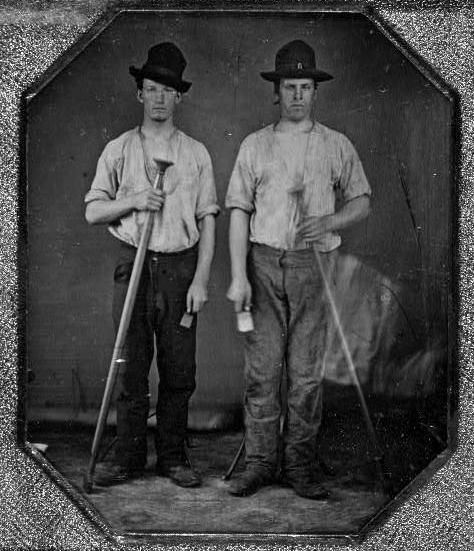 Unknown workers from the 1800's, showing typical men's work clothing