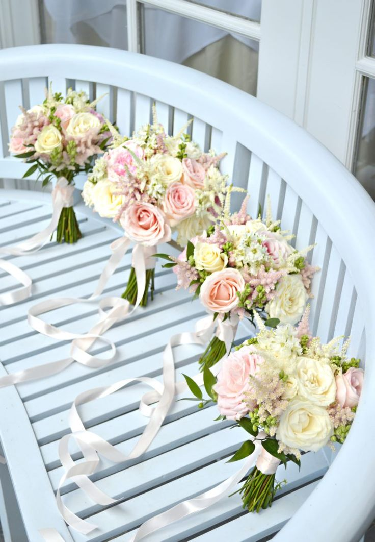 Blush Pink and cream David Austin Avalanche rose and astilbe Bridal bouquet bridesmaids bouquet with long ribbon wedding Cherie Kelly Wedding Flowers London Bingham Hotel Richmond
