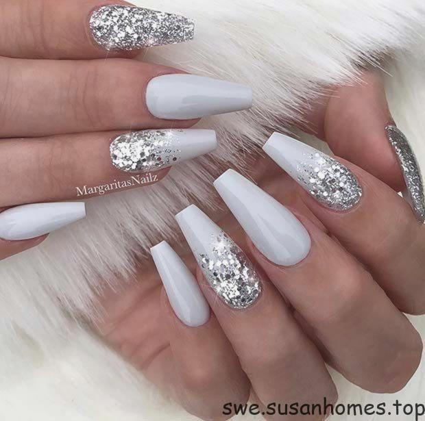 naglar silver glitter