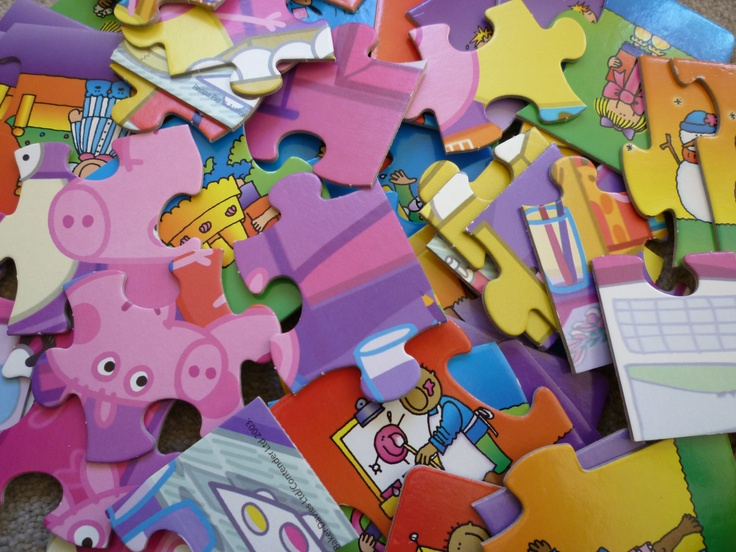 Large floor puzzles where each child can add pieces, or do half the jigsaw each, always work well and ensure that each child gets a go.