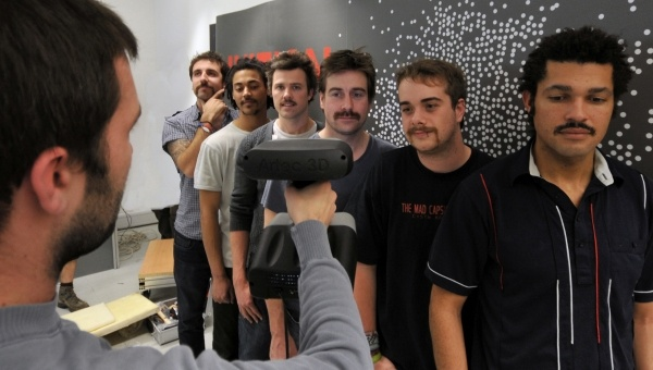 Inition's Rob Jeffries Scanning our Movember staff members!
