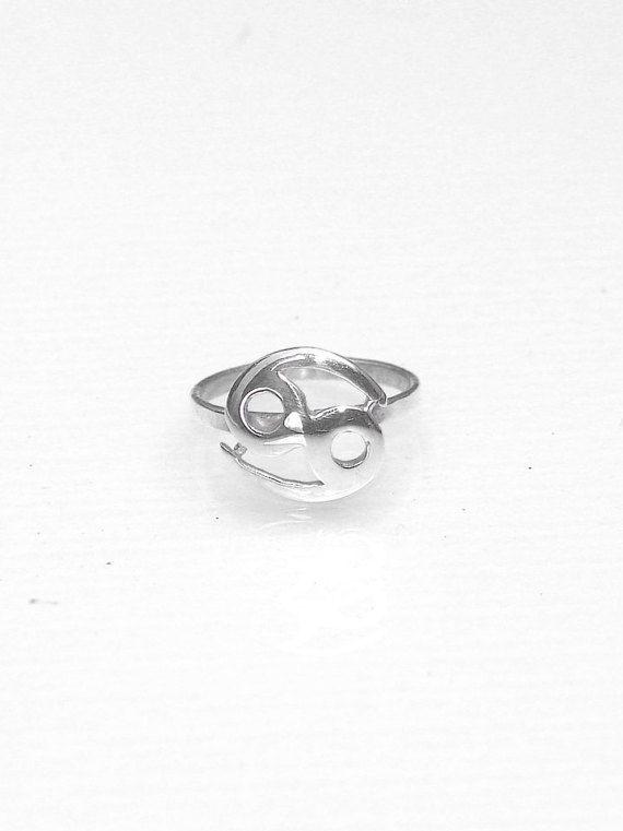 Cancer Zodiac Midi Ring  Silver Minimal Thin by profoundgarden