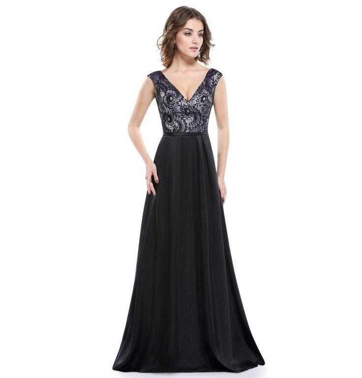 Abendkleid Schwarz mit V-Ausschnitt