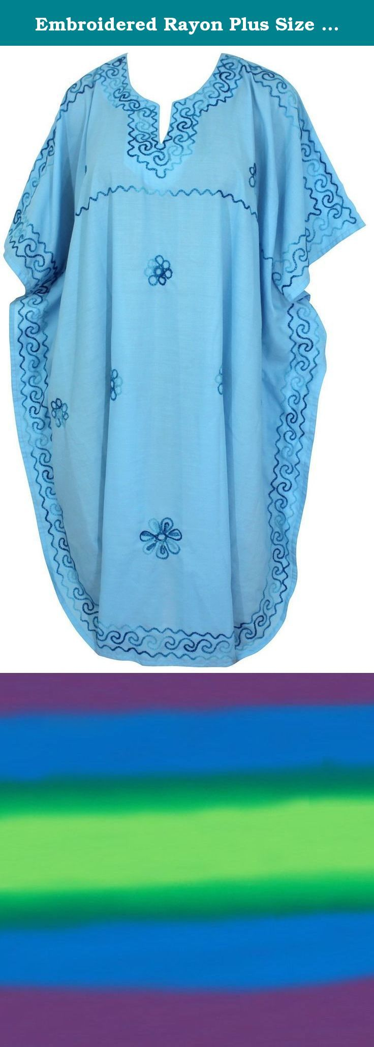 "Embroidered Rayon Plus Size Plus Size Caftan Women Light Blue Loose Nightwear Valentines Day Gifts 2017. Description:- ==> Welcome to LA LEELA ==> Enjoy Beach, Breeze and Nature with La Leela's ""VIBRANT BEACH COLLECTION"" and stay calm and classy! . ==> Fabric : DELICATE DESIGNER EMBROIDERED LIGHTWEIGHT SMOOTH RAYON FABRIC US Size : From Regular 10 (M) TO 14 (L) ➤ UK SIZE : FROM REGULAR 14 (M) TO 16 (L) ➤ BUST : 40 Inches [ 101 cms ]➤ Length : 36 Inches [ 91 cms ] ==> Clothing Type…"