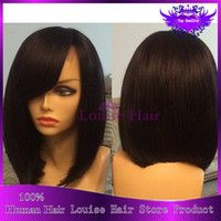 Wholesale 2015 human hair bob wigs for black women lace wig bob straight wigs side part short bob lace front wig