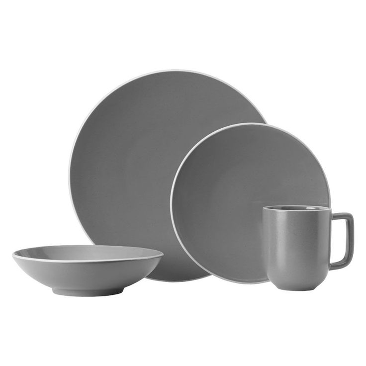 Set the mood for upscale casual dining with Mikasa Leah Charcoal dinnerware. Stoneware pieces in contemporary coupe shapes and a striking charcoal color bring modern...