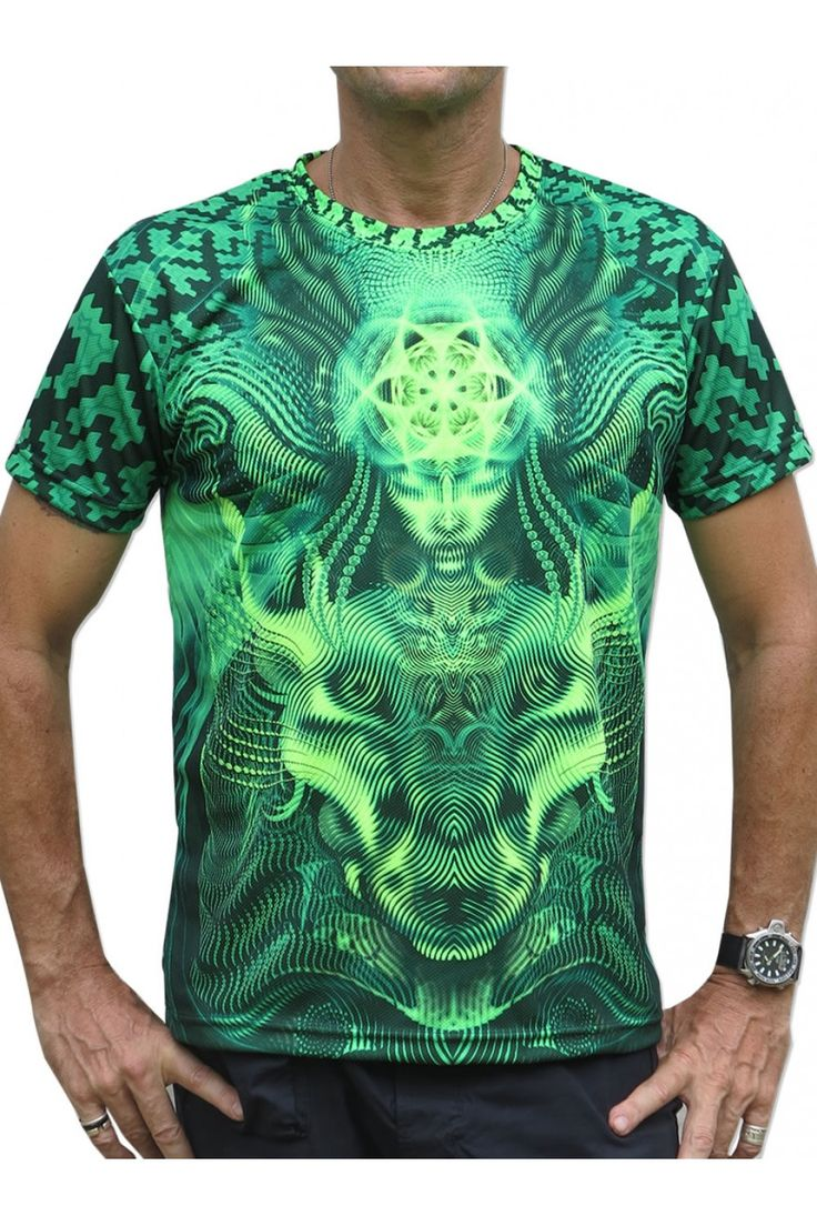 """UV Sublime S/S T : Lime Foxy Fully printed short sleeve T shirt. This shirt is an """"All Over"""" printed T shirt that will really grab people's attention. The design is printed using sublimation printing on a high quality UV Yellow polyester / Dri-Fit blended shirt. This allows for extremely vibrant colors that will never fade away no matter how many times it gets washed, & results in an extremely soft """"feel"""" to the shirt for ultimate comfort. UV active - Glows under black light ! Artwork by…"""